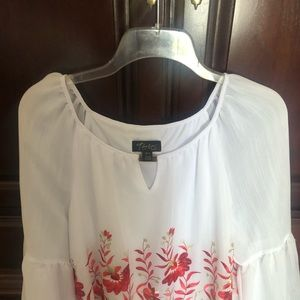 White with red embroidery blouse